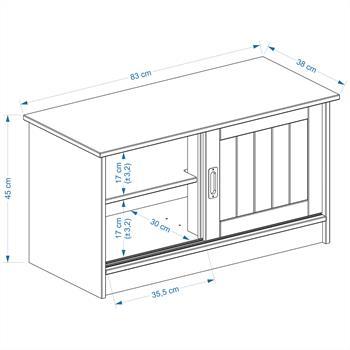 Sitzbank HEIN in weiß mit 2 Schiebetüren