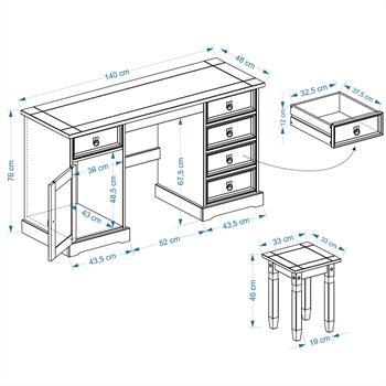 Mexico Möbel Schreibtisch TEQUILA mit Hocker