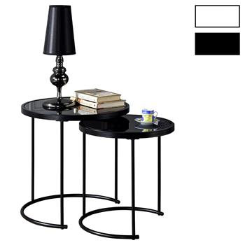Lot de 2 tables d'appoint gigognes LEYRE, plateau rond en verre